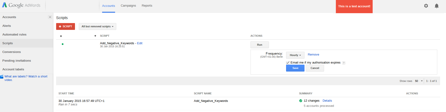 Adding Adwords Scripts