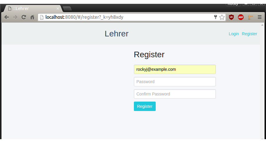 React Register Page